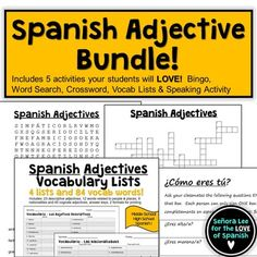 """Students will LOVE this bundle of 5 Spanish adjective activities! Includes a Spanish Adjective word search, crossword puzzle, vocabulary lists, bingo and a speaking activity. Great for reinforcing vocabulary throughout the lesson, test review or substitute plans. Aligns with Buen Viaje 1 Chapter 1 and uses descriptive adjectives and the verb """"ser."""""""
