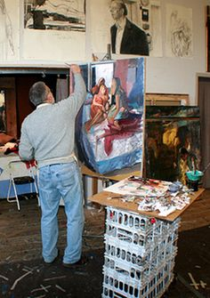 Jerome Witkin in his studio