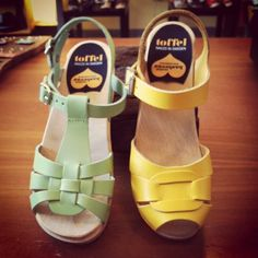 5/9: 781 (mint) and 832 (yellow) clog sandals from Swedish Hasbeens.  #swedishhasbeens