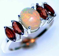 Rainbow Fire OPAL Garnet 925 SILVER Rings Multi Gemstone Ring NEW; Size L to T