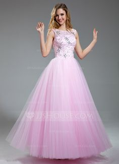 Prom Dresses - $154.99 - A-Line/Princess Scoop Neck Floor-Length Satin Tulle Prom Dress With Lace Beading Sequins (018018997) http://jjshouse.com/A-Line-Princess-Scoop-Neck-Floor-Length-Satin-Tulle-Prom-Dress-With-Lace-Beading-Sequins-018018997-g18997