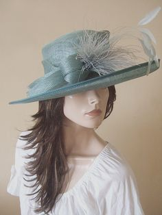 Presen Greyed Jade Hat with Feathers from Dress-2-Impress Hat Hire