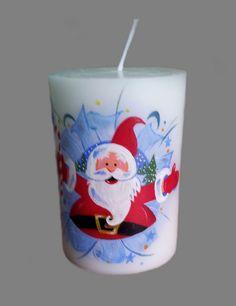 Hand painted pillar candle Christmas Santa.