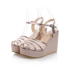 Maymeenth Womens Open Peep Toes High Heel Wedge Platform Soft Material PU Solid Sandals Gold 10 BM US >>> Read more reviews of the product by visiting the link on the image.