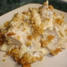 Easy Chicken Casserole 4 chicken breasts cooked & shredded 1 can cream of chicken 1 c sour cream 1 onion chopped 32 Ritz cracker crumbs Bake 350 for 30 minutes