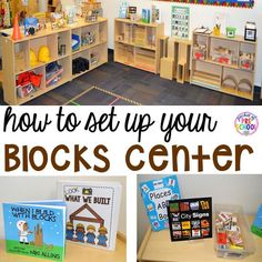 How to Set Up the Blocks Center in an Early Childhood Classroom - Pocket of Preschool How to set up the blocks center in your early childhood classroom (with ideas, tips, and book list) plus block center freebies Block Center Preschool, Kindergarten Centers, Kindergarten Classroom, Classroom Ideas, Classroom Organization, Classroom Design, Montessori Classroom, Preschool Learning Centers, Preschool Classroom Themes