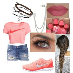 sporty girly chic by annikasallie on Polyvore featuring polyvore fashion style NIKE French Connection Topshop She's So