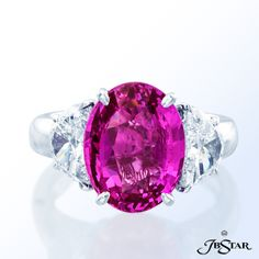 """Style 2726 Stunning pink sapphire and diamond ring featuring a certified """"no heat"""" 6.55ct oval pink sapphire set with half moon diamonds in platinum. #pinksapphire"""