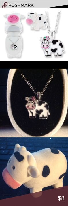"""Jewelry - necklace Cow pendant with colorful enameling in a matching velour hinged gift box. Pendant hangs on an 18"""" chain. Sterling silver finish. Jewelry Necklaces"""