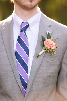 Pink Rose Boutonniere | The Green Flamingo  | Katelyn James Photography | TheKnot.com