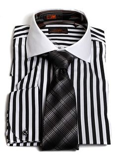 Black And White Striped Mens Dress Shirt Sharp Dressed Man, Well Dressed Men, Sweater Shirt, Shirt Dress, Italian Shirts, Button Up Shirt Mens, French Cuff Dress Shirts, Urban Fashion Trends, Camisa Formal