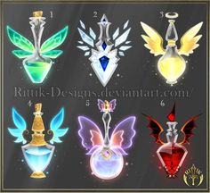 (CLOSED) Potion set 4 by Rittik-Designs- option 6 - Bilder /gezeichnetes etc. Anime Weapons, Fantasy Weapons, Armes Concept, Art Magique, Art Du Croquis, Elemental Magic, Magic Bottles, Magical Jewelry, Weapon Concept Art
