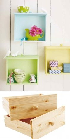 Shelves made by drawers - Take knobs off.