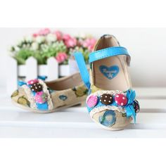 Cute Blue Floral Little Toddler Girls Pageant Party Mary Jane Shoes Sale  SKU-133161