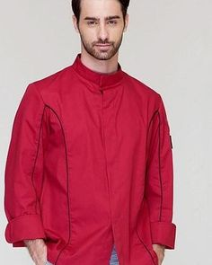Red Professional Chef, Fall Outfits, Chef Jackets, Trousers, Suits, Long Sleeve, Sleeves, Cotton, Mens Tops