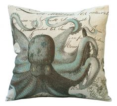 Aqua Octopus on French Document Square 20x20 or 18x18 or 16x16 or 14x14 or Oblong 24x16 or 20x13 or 18x12 Inch Pillow Cover by Soeuralasoeur on Etsy https://www.etsy.com/listing/101725692/aqua-octopus-on-french-document-square