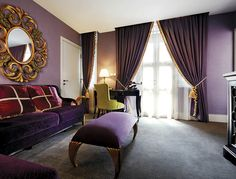 Related image Boutique Hotel Room, Interior Decorating, Decorating Ideas, Purple, Pink, Interiors, Curtains, Image, Home Decor