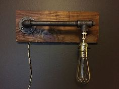 Handmade Rustic Industrial Wood Wall Lamp with Iron Pipes * Living Room