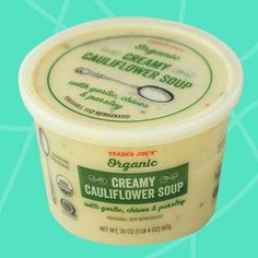 Healthy Must-Buys at Trader Joe's: Organic Creamy Cauliflower Soup Trader Joes Soup, Trader Joe's, Grilled Chicken Fajitas, Creamy Cauliflower Soup, Benefits Of Organic Food, Meat Substitutes, Organic Recipes, Healthy Recipes, Healthy Meals