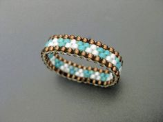 Peyote Ring / Thin Beaded Ring / Seed Bead Ring in Turquoise and Brown / Size 6 Ring / Skinny Peyote Band / Delica Ring / Geometric Ring /