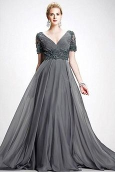 A-Line/Princess V-neck Sweep/Brush Train Chiffon Mother of the Bride Dress