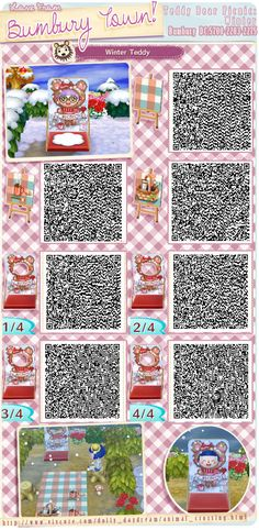 animal crossing QR codes - That looks really nice for when it's winter! <3 Acnl Standee Qr Codes, Gato Animal, New Leaf, Qr Code Animal Crossing, Animal Crossing Qr Codes Clothes, Acnl Qr Code Sol, Nintendo, Kawaii, Motif Acnl