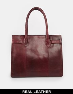 Urbancode Leather Cranberry Double Zip Work Tote Bag - Cranberry