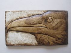 Raven Wallsculpture hand painted detailed black and white nature gift fine artwork Wood Carving Patterns, Wood Carving Art, Bone Carving, Wood Art, Carving Designs, Sculpture Sur Os, Art Sculpture En Bois, Abstract Sculpture, Rabe