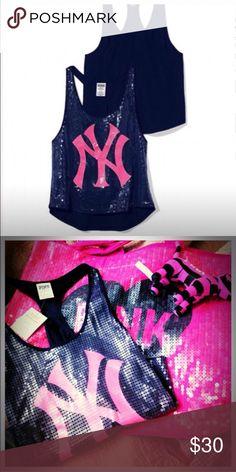 Victoria's Secret *RARE* PINK MLB sequin tank NWOT Victoria's Secret PINK NY MLB racer back tank top. Pink and blue with sequin detailing. I took the tag off thinking I would someday wear it but I never did. In great condition ! No trades , no apps outside of Poshmark , no modeling. Price is FIRM unless bundled. Happy poshing 😃🙂 Victoria's Secret Tops Tank Tops