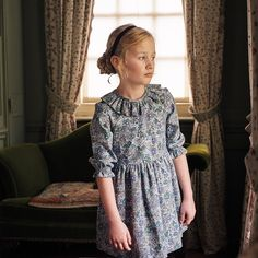 Girl Floral Ruffel Neck Dress Laria Girl Dress #kidsfashion #fashion #floraldress