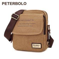Peterbolo High Quality Vintage Men Bag Canvas Handbag Men Shoulder Bag Small Crossbody Bag