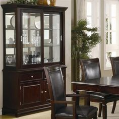 Ramona Transitional Nut Brown Wood Glass Buffet And Hutch