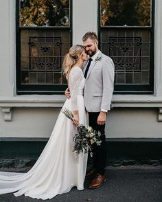 "Bride and Tonic on Instagram: ""Love the sleeves on this simple yet oh so elegant gown Photography 