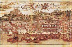 Vue de Venise (détail, partie centrale)  Bernard von Breidenbach, Reise ins Heilige Land, gravure de Erhard Reuwich, Mayence, 1486 Gravure sur bois imprimée sur parchemin (30 x 160 cm), coloriée BnF, Livres rares, Impr. Rés. Vélins 769, pl. 2--BnF - Dossier pédagogique - L'enfance au Moyen Âge
