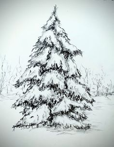 How to draw a snow tree