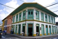 Bright and colourful Colombian architecture Colonial, Arch, Multi Story Building, Journey, Villa, Colours, Mansions, World, House Styles