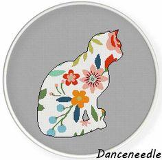 Instant Download, Cross stitch pattern, PDF,flower cat,valentine's day…