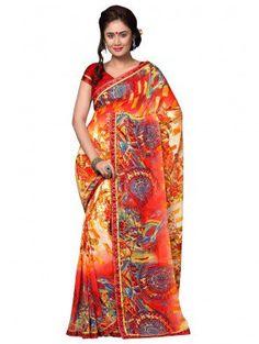 Multi Color Georgette Printed Saree
