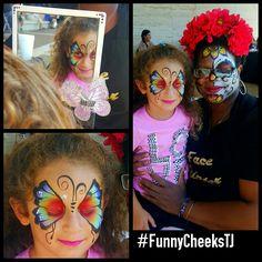 Fiesta de la Familia face painting fun by FunnyCheeksTJ of Funny Cheeks Dallas Face Painter