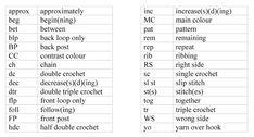 Diyagram, Sembol Ve Temel Tığ Dikişler Kısaltması 2