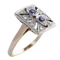 Edwardian Sapphire Diamond Gold Cocktail Ring