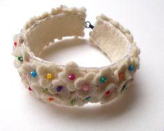 Spring Flowers in white - hand embroidered felt bracelet - small flowers - wool felt