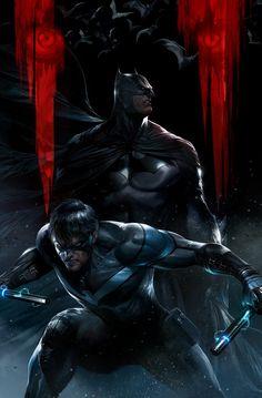 DC Comics: Batman and Nightwing Batman Dark, Batman The Dark Knight, Batman And Superman, Batman Stuff, Batman Logo, Batman Arkham, Batman Robin, Dc Comics Characters, Dc Comics Art