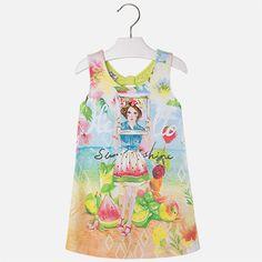 Vestido de niña de punto liso estilo playero