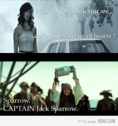 I love Jack Sparrow! Oh sorry, Captain Jack Sparrow! Captain Jack Sparrow, Friday Pictures, Funny Pictures, Funny Pics, Funny Memes, Funny Captions, Memes Humor, Johnny Depp, The Funny
