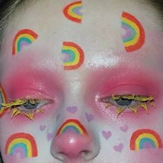 Edgy Makeup, Eye Makeup Art, Clown Makeup, Cute Makeup, Pretty Makeup, Makeup Inspo, Makeup Inspiration, Makeup Ideas, Hair Makeup