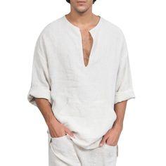 V Neck Long Sleeve Kangaroo Pocket Shirt - White - - Men's Clothing, Men's Tops & T-Shirts, Men's Shirts # # Plain Shirts, Cheap Shirts, Loose Shirts, Henley Shirts, Long Sleeve Shirts, Men's Shirts, Flannel Shirts, Casual Tops, Casual Shirts