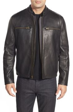 Cole Haan Lambskin Leather Jacket with Removable Vest available at #Nordstrom