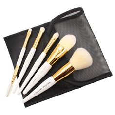 Brush Master 5 Pcs Mini Travel Makeup Brush Set Cosmetic Kabuki Face Powder  Brush Makeup Brush Kit Golden