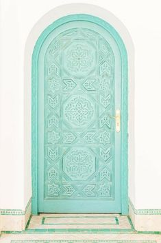 Bright Turquoise Door in Marrakech
